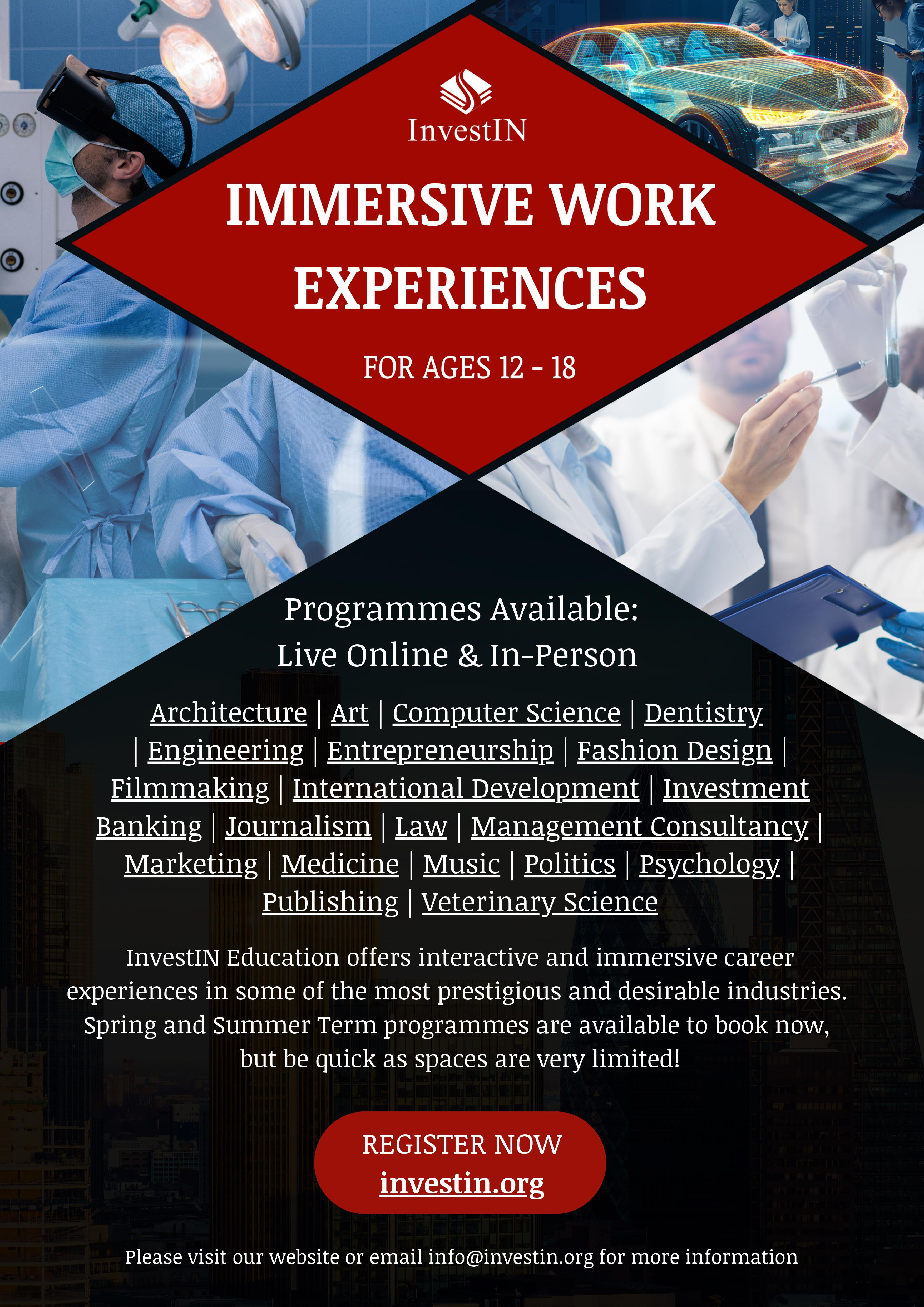 Investin Work Experiences poster