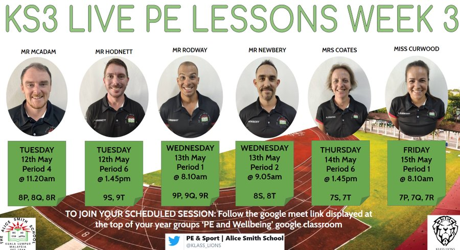 PE lessons wk3 schedule