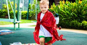 boy playing dress up