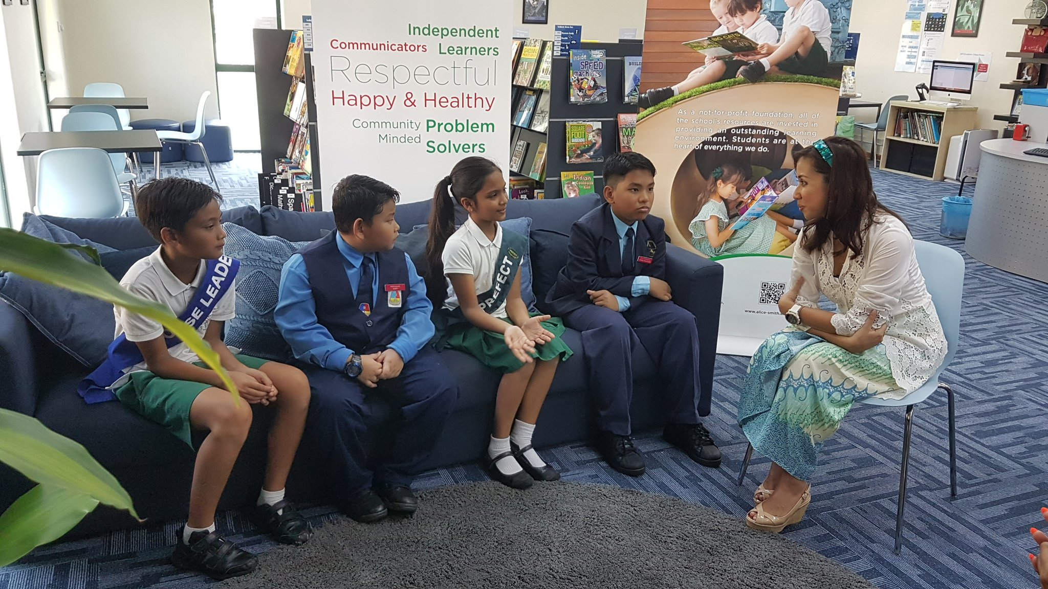 Tengku Zatasha school visit with children at Alice Smith