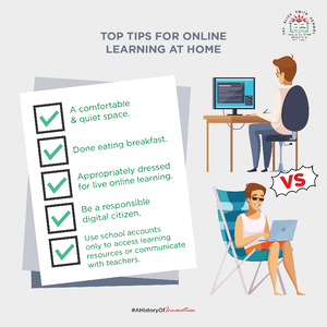 KLASS poster tips for online learning at home