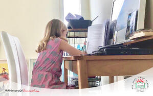 Primary school student at home learning